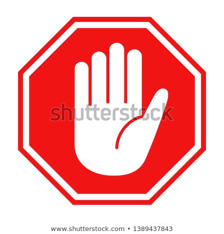 Foto stock: Rojo · senal · de · stop · vector · formato · signo · tráfico