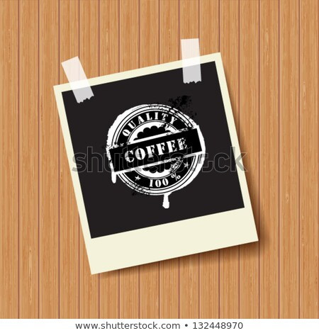 Black Photo Frame With Rubber Sign Coffee Stock fotó © mcherevan