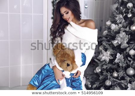 Verleidelijk helper blond meisje geschenkdoos Stockfoto © chesterf