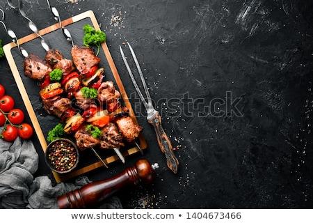 говядины · кебаб · приготовления · горячей · лагерь · огня - Сток-фото © ozgur