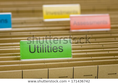 Hanging file folder labeled with Utilities Stock photo © Zerbor