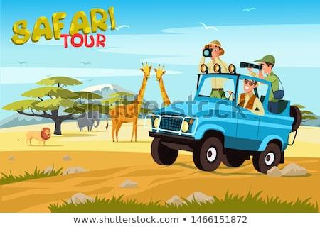 Cartoon Jeep искусства скорости смешные транспорт Сток-фото © kariiika