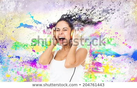 beautiful woman over abstract melody background stock photo © nejron