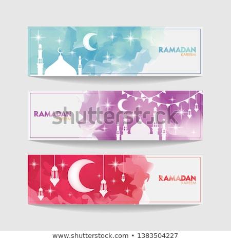 Mooie moskee heldere kleurrijk ramadan Blauw Stockfoto © bharat