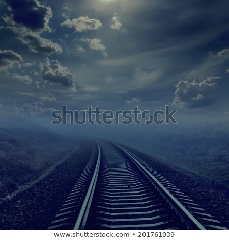 Ferrovia noite horizonte dente luar nublado Foto stock © mycola