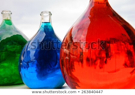 Stock fotó: Három · antik · üvegek · színes · izolált · fehér