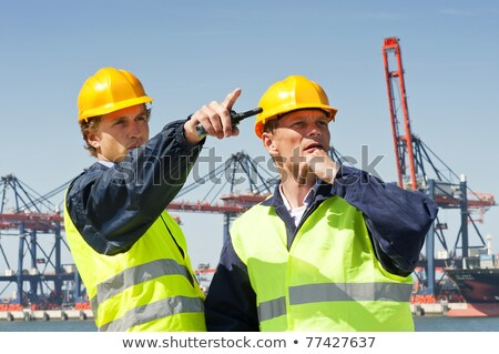 Foto stock: Dockers Looking At A Container Terminal