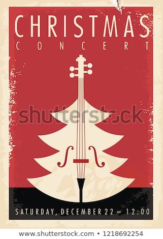 Karácsony koncert illusztráció nő hegedű ünneplés Stock fotó © adrenalina