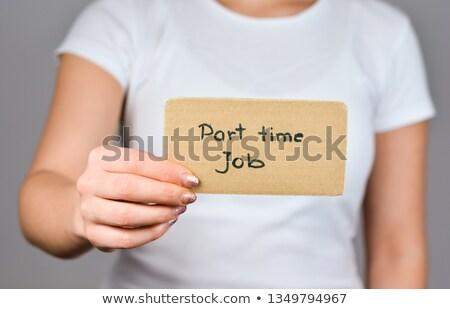Tart kártya kéz karton copy space üzlet Stock fotó © hyrons