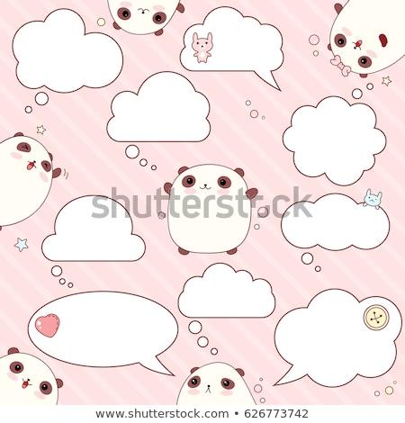 Cartoon panda bubble myśl strony projektu sztuki Zdjęcia stock © lineartestpilot