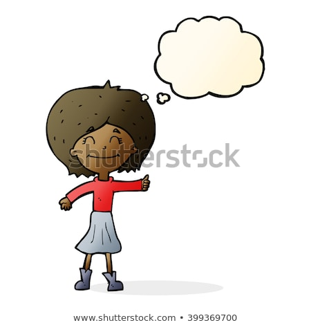 cartoon woman giving thumbs up symbol with thought bubble Stock photo © lineartestpilot
