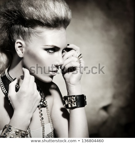 makeup rock hairstyle portrait of young beautiful punk model w stock photo © victoria_andreas