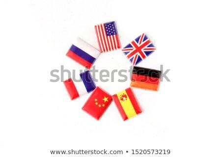 ABD Romanya minyatür bayraklar yalıtılmış beyaz Stok fotoğraf © tashatuvango