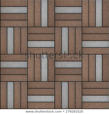 Brown and Gray Pavement Rectangle Laid in Form of Weaving.  Stock photo © tashatuvango