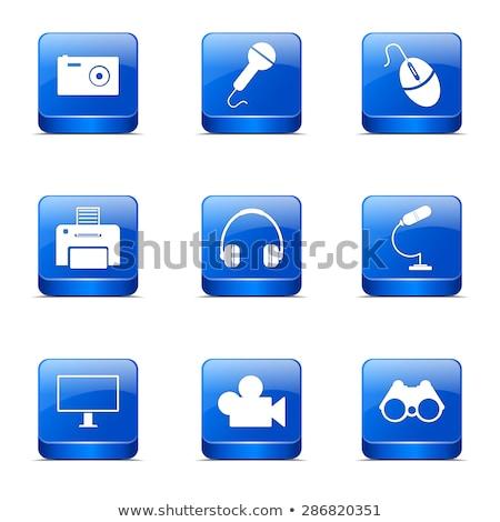 electronic equipment square vector blue icon design set stock photo © rizwanali3d
