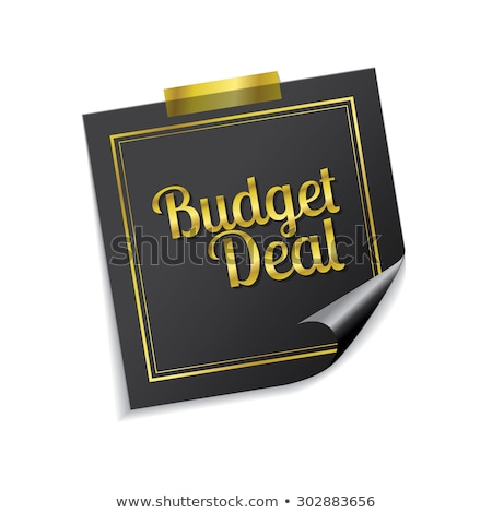 Budget deal gouden sticky notes vector icon Stockfoto © rizwanali3d