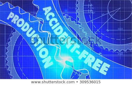 accident free production concept blueprint of gears stock photo © tashatuvango