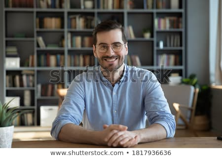 Işadamı gülen adam iletişim genç Stok fotoğraf © imagedb