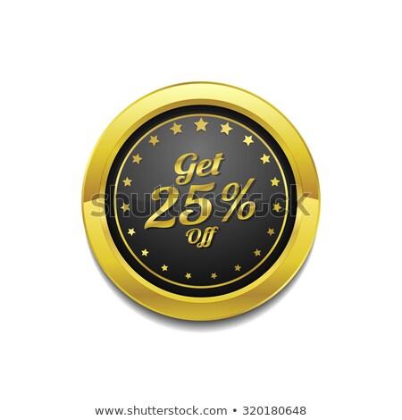 Get 25 Percent Golden Vector Icon Button Stock photo © rizwanali3d