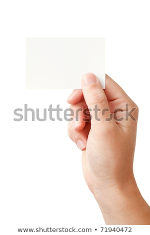 Humans arms with horizontal blank card Stock photo © cherezoff