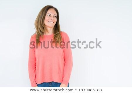 Vista laterale maturo pensare sorridere fotocamera Foto d'archivio © feedough