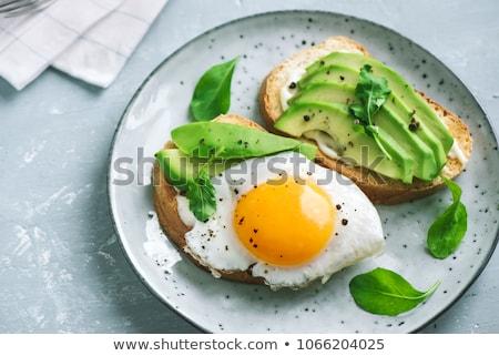 Yumurta kahvaltı güzel tablo düzen Stok fotoğraf © timh