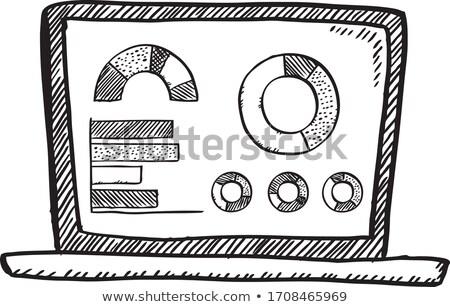 Nyitva laptop számítógép kördiagram firka technológia üzlet Stock fotó © dolgachov