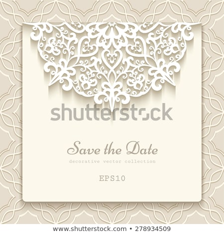 Classical wedding invitation template with white lace Stock photo © liliwhite