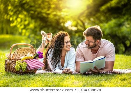 пикника женщину любви трава Сток-фото © wavebreak_media