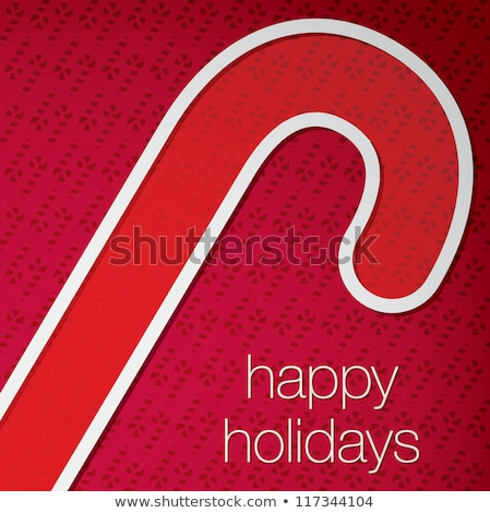 Candy cane 'Happy Holidays' cut out card in vector format. Stock photo © piccola