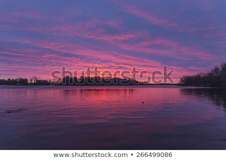 Sunset over lake in Kerala Stock photo © Komar
