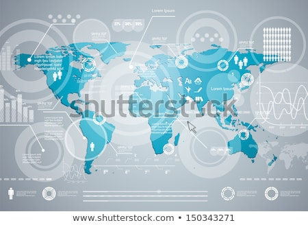 Stock photo: Blue World map infographic template with pie charts