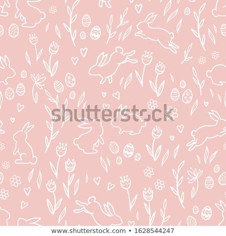 coelhinho · da · páscoa · flores · da · primavera · ilustração · joaninha · isolado · branco - foto stock © adrenalina