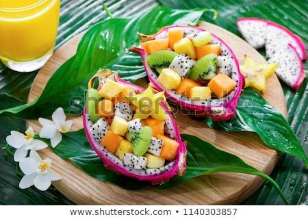 tropische · zomer · salade · vruchten · groenten · tofu - stockfoto © klsbear