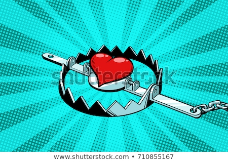 Red heart in an iron trap. Love and romance Stock photo © studiostoks