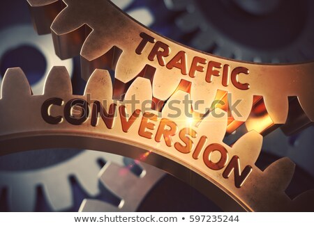 Traffic Conversion on the Golden Metallic Cog Gears. Stock photo © tashatuvango