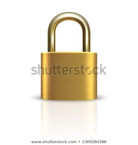 3D realista fechado cadeado aço trancar Foto stock © psychoshadow
