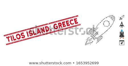 Greece in red from orbit Stock photo © Harlekino