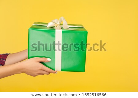 closeup shot of female hands holding big gift box christmas tim stock photo © nobilior
