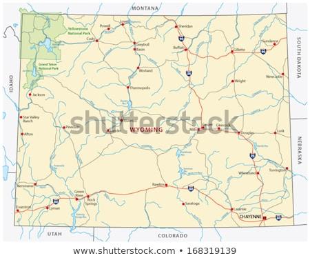 térkép · Wyoming · kék · minta · Amerika · tér - stock fotó © rbiedermann