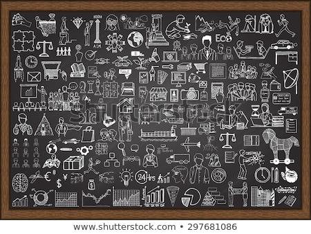 business processes on chalkboard with doodle icons stock photo © tashatuvango