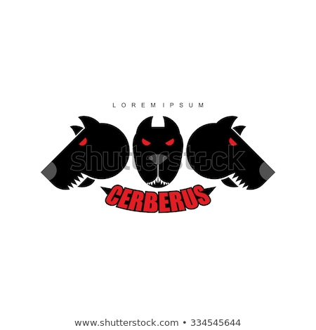 cerberus warrior dog logo of heads of dogs scary animal with stock photo © popaukropa