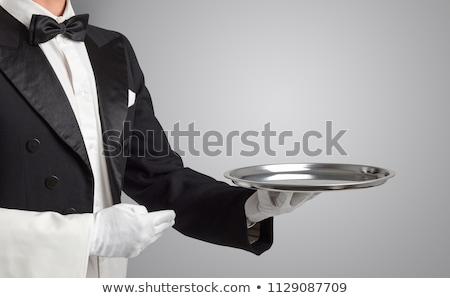 Szolgáló fehér kesztyű rozsdamentes acél tálca visel Stock fotó © DenisMArt