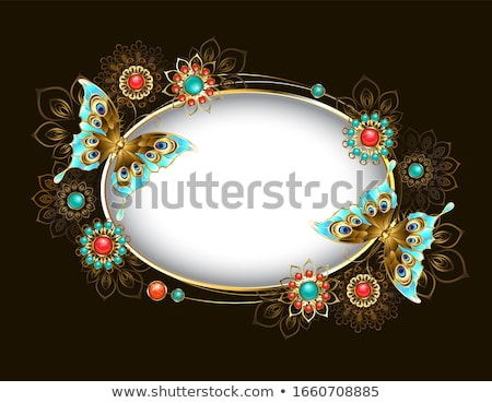 Oval banner with turquoise butterflies Stock photo © blackmoon979
