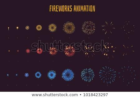 Vuurwerk frame abstract sterren achter witte Stockfoto © x7vector