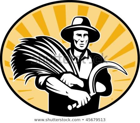 Man Farmer Scythe Wheat Stock photo © lenm