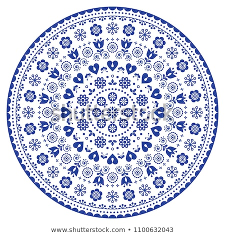 Floral Scandinavian mandala design, folk art seamless vector pattern with flowers, navy blue floral  Stock photo © RedKoala