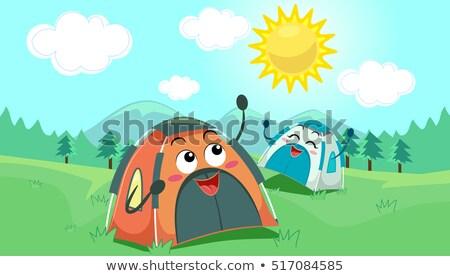 Mascote feliz ensolarado ilustração par camping Foto stock © lenm