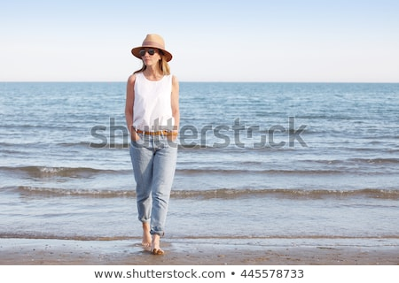 Teljes alakos portré vonzó nő visel szalmakalap bolyhos Stock fotó © deandrobot