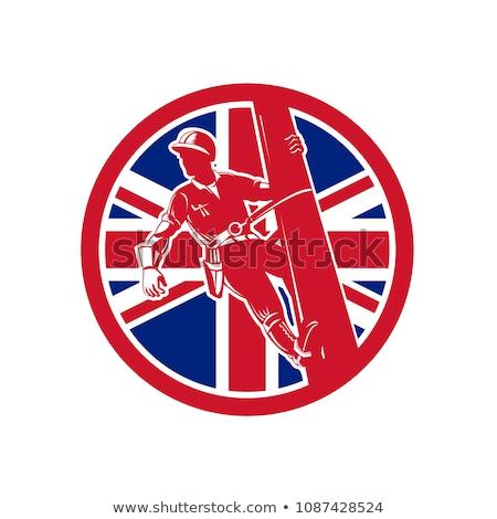 british linesman union jack flag icon stock photo © patrimonio